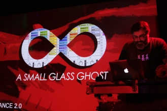 A Small Glass Ghost laying down an awesome set of syncopated beats and the maddest noises in town