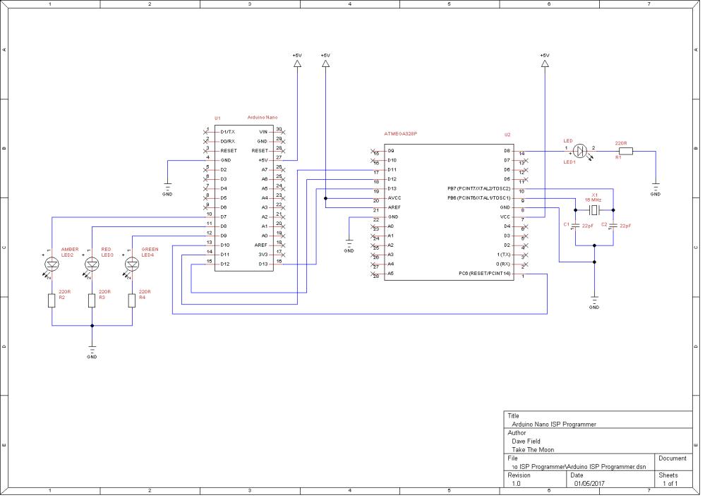 Arduino ISP Programmer Schematic