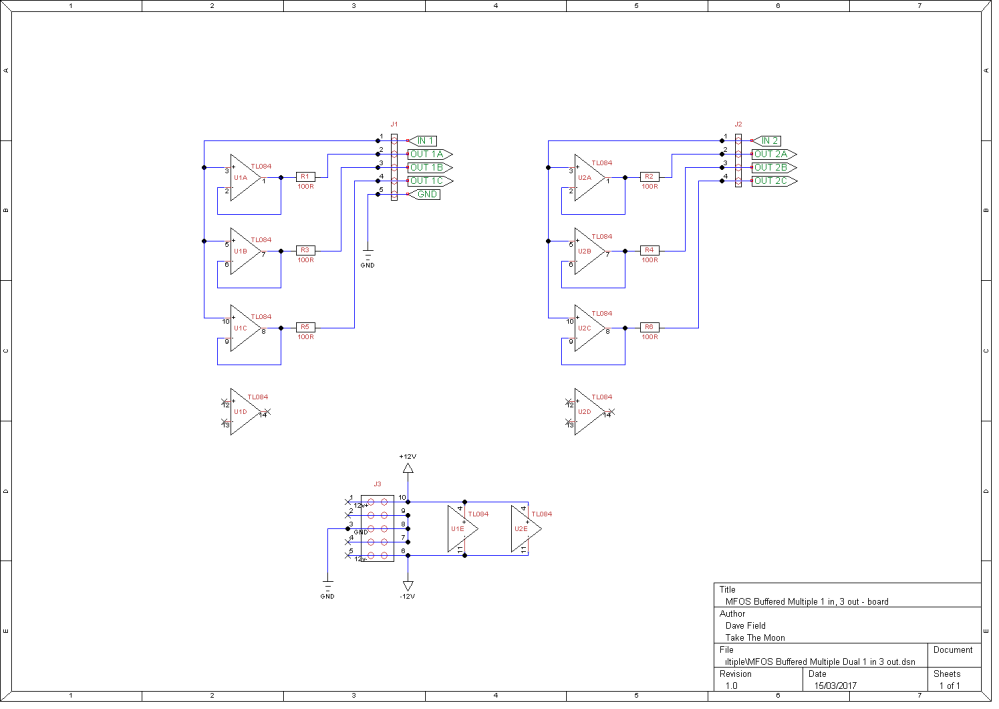 MFOS Buffered Multiple Dual 1 in 3 out Schematic - Board