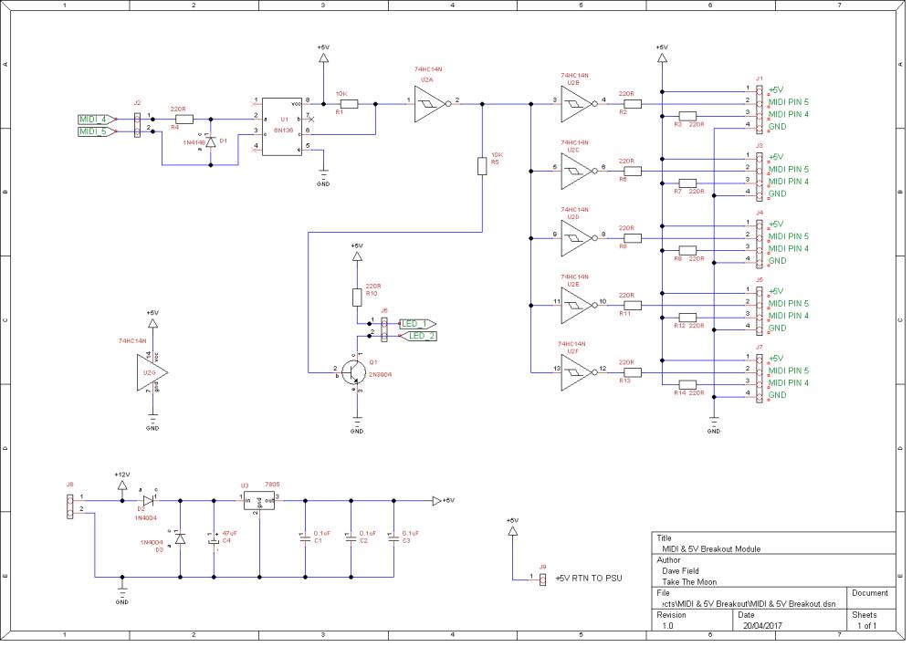 MIDI & 5V Breakout Schematic 1
