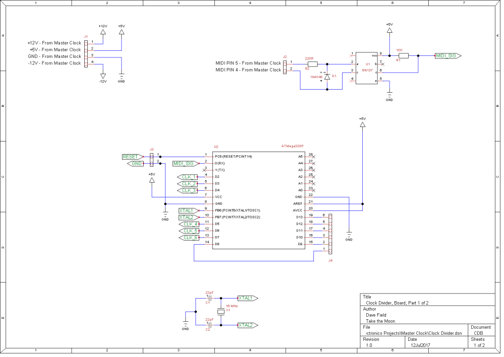 Clock Divider Schematic - Board 1 of 2