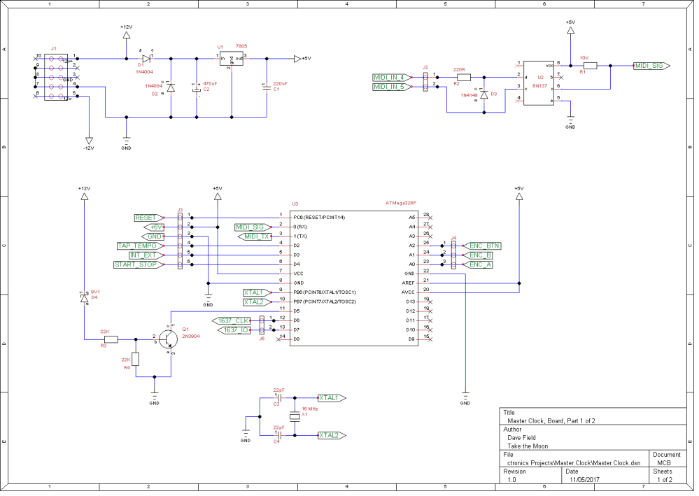 Master Clock Schematic - Board 1 of 2