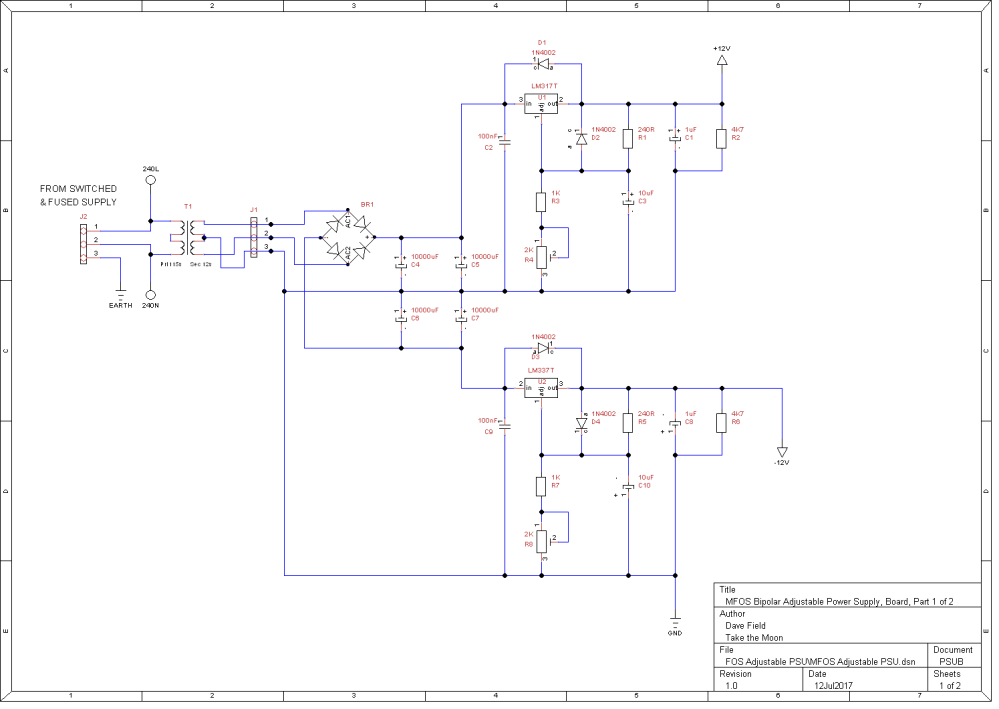 MFOS Adjustable PSU Schematic - Board Part 1