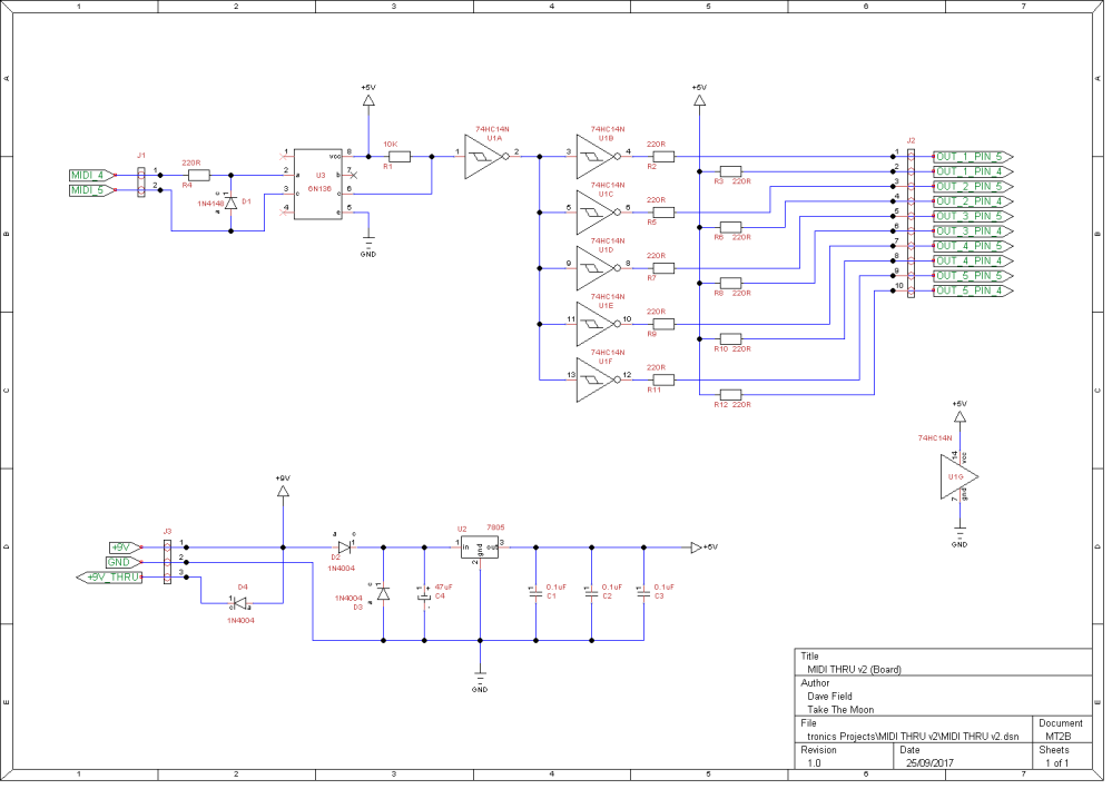 MIDI THRU v2 Schematic Board
