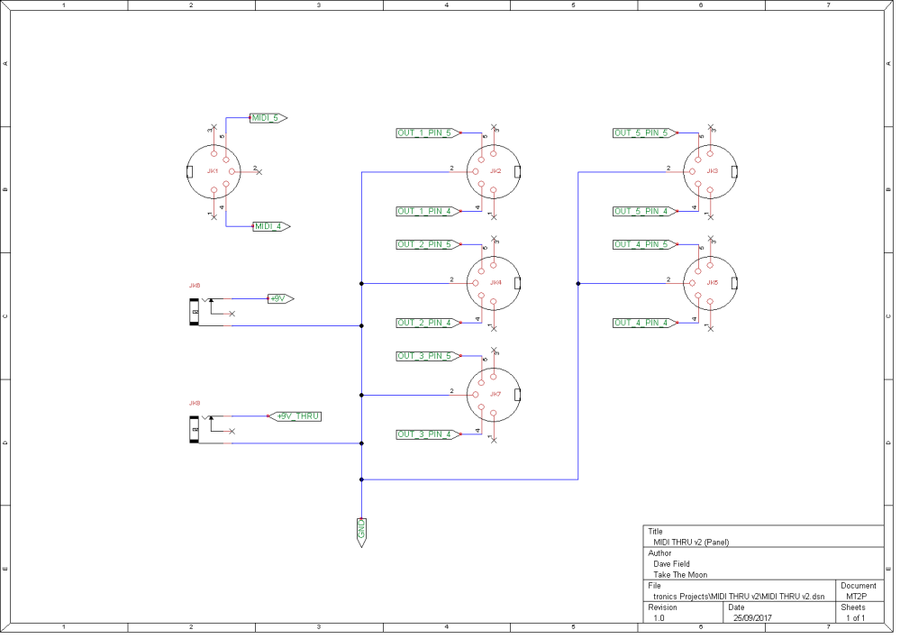 MIDI THRU v2 Schematic Panel