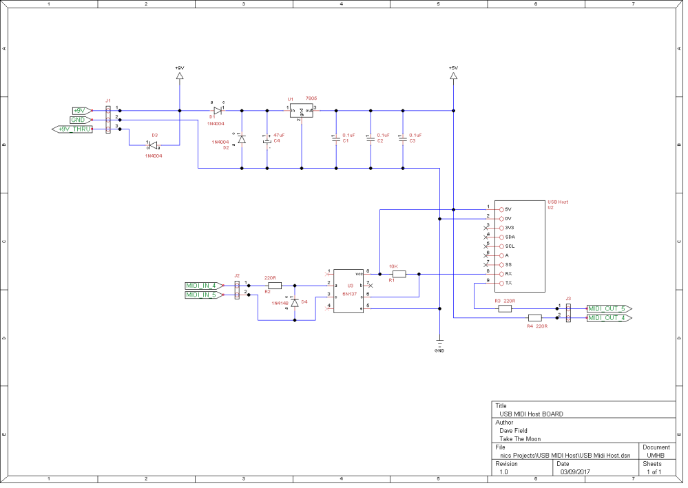 USB Midi Host Schematic Board